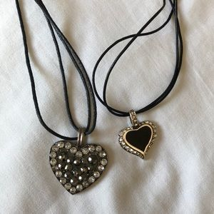 Black heart necklace duo
